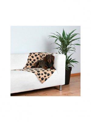 Trixie Koc Beżowy w czarne łapki - 100x70 cm