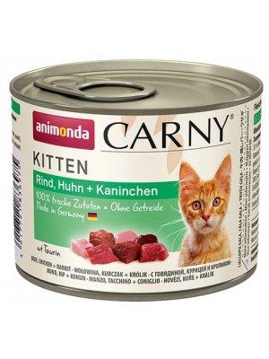 Animonda Carny Kitten Wołowina, Kurczak i Królik 200g