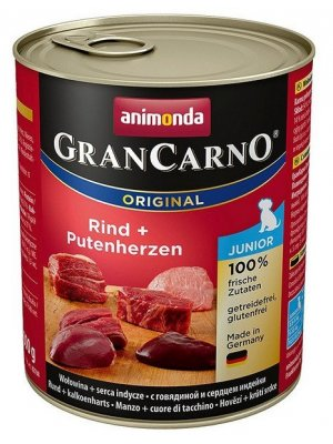 Animonda GranCarno Junior Wołowina i Serca indyka 800 g