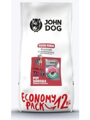 John Dog Karma Sucha Good Form Kurczak z Wołowiną dla Średnich i Dużych Psów 12kg