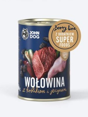 John Dog Karma Mokra Berry Line Junior Wołowina z Królikiem i Jeżynami 800g