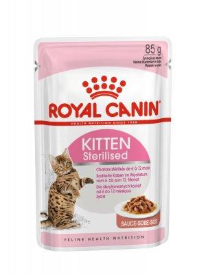 ROYAL CANIN Kitten Sterilised w sosie 85g karma mokra w sosie dla kociąt do 12 miesiąca życia, sterylizowanych