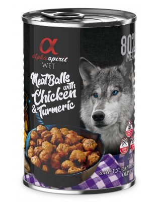 Alpha Spirit mięsne klopsiki z kurczakiem i kurkumą 400g