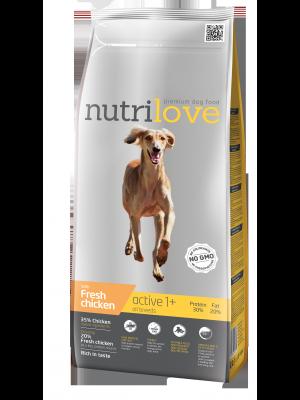 Nutrilove Premium dla psa ACTIVE ze świeżym kurczakiem 12kg
