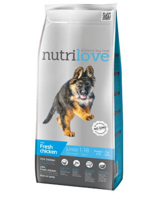 Nutrilove Premium dla psa JUNIOR L ze świeżym kurczakiem 12kg
