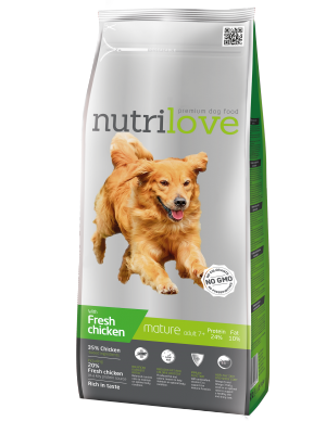 Nutrilove Premium dla psa MATURE +7 ze świeżym kurczakiem 12kg