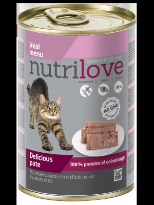 Nutrilove Premium pasztet dla kota z cielęciny 400g