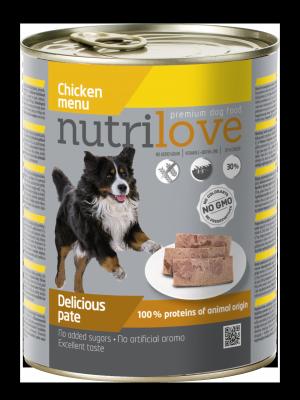 Nutrilove Premium pasztet dla psa z kurczaka 800g