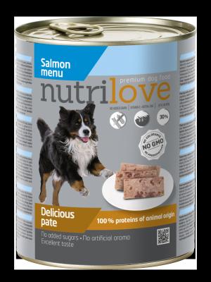 Nutrilove Premium pasztet dla psa z łososia 800g