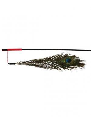 Wędka dla kota z pawim piórem 47 cm
