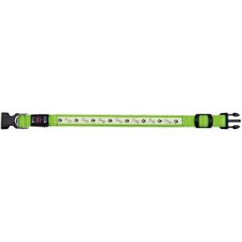 Obroża z lampą błyskową USB, S-M 30-40/25mm zielona