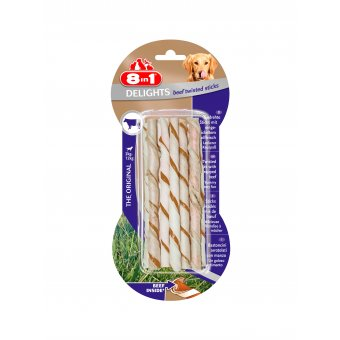 8in1 Beef Delights Twisted Sticks 10szt