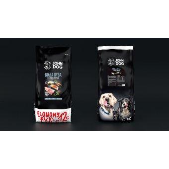 John Dog Karma Sucha Premium Biała Ryba z Łososiem i Warzywami dla Psów Średnich i Dużych 12kg