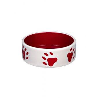 Trixie Miska ceramiczna z nadrukiem w łapy 0,3 l/o 12 cm - czerwono-kremowa