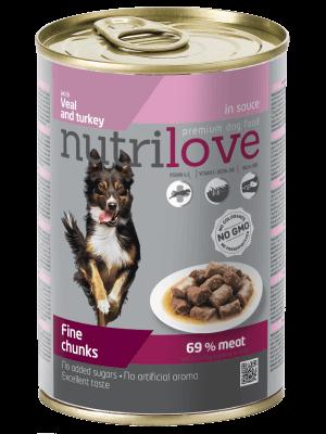 Nutrilove Premium kawałki z cielęciną i indykiem w sosie dla psa 415g