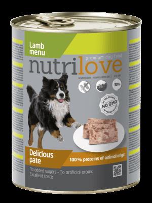Nutrilove Premium pasztet dla psa z jagnięciny 800g
