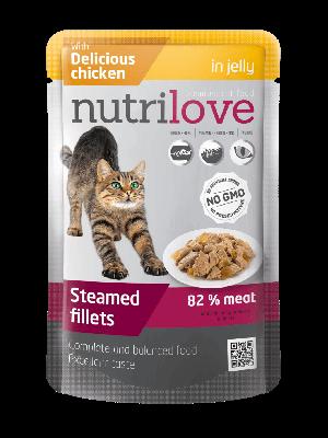 Nutrilove Premium mięsne kawałki z kurczakiem w galaretce dla kota 85g