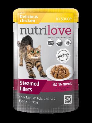 Nutrilove Premium mięsne kawałki z kurczakiem w sosie dla kota 85g