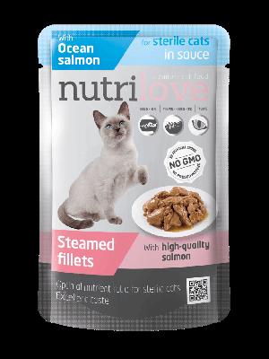 Nutrilove Premium mięsne kawałki z łososiem w sosie dla kota sterylizowanego 85g